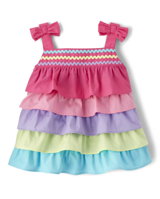 Girls Sleeveless Rainbow Colorblock Poplin Tiered Top - Hello Cupcake