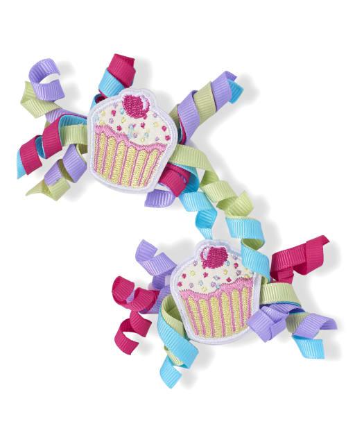 Girls Cupcake Curly Hair Clip 2-Pack - Hello Cupcake