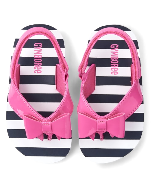 Girls Striped Bow Flip Flops - Playful Poppies
