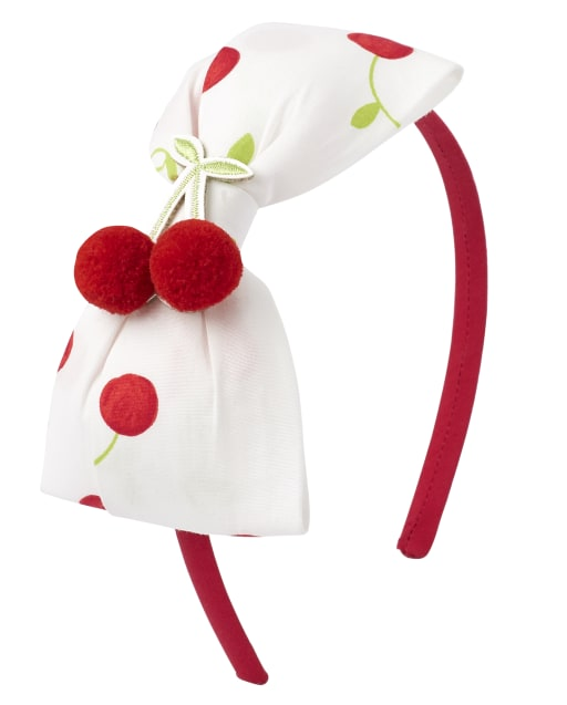 Girls Cherry Print Bow Headband - Very Chery