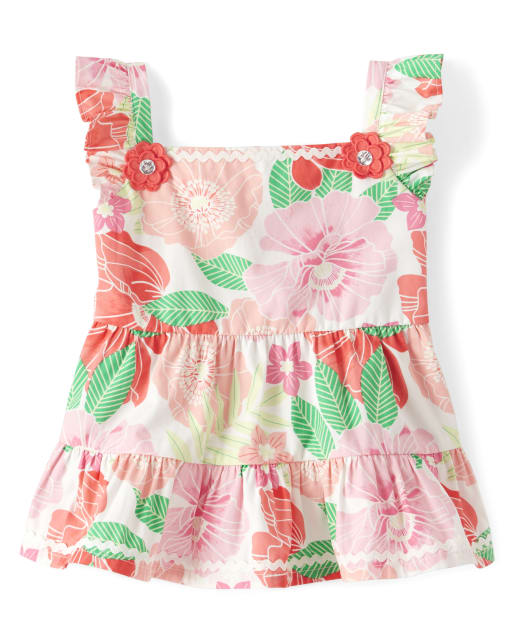 Girls Sleeveless Floral Print Poplin Tiered Top - Fairy Blossom