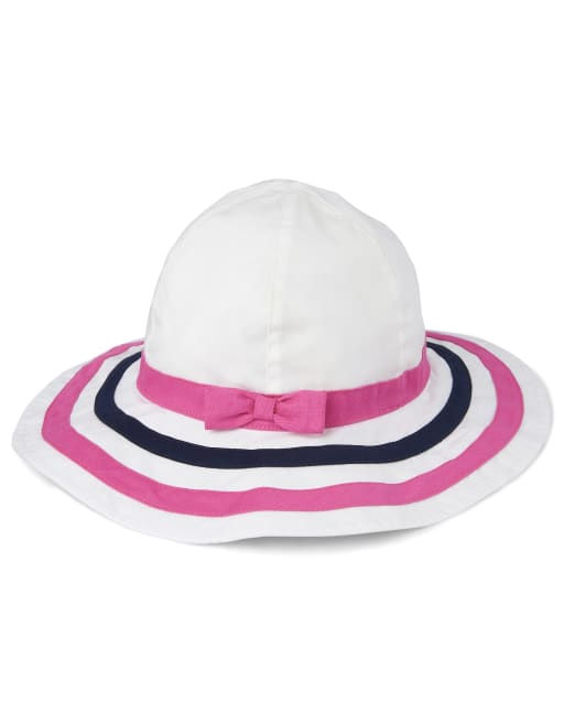 Girls Striped Sun Hat - Playful Poppies