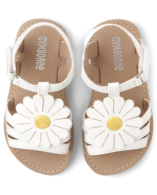 Girls Daisy Faux Leather Sandals - Pocketful Of Posies