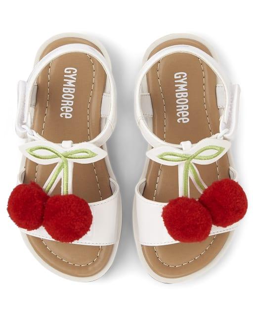 Girls Pom Pom Cherry Faux Leather Sandals - Very Cherry