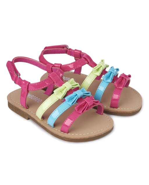 Girls Rainbow Faux Leather Sandals