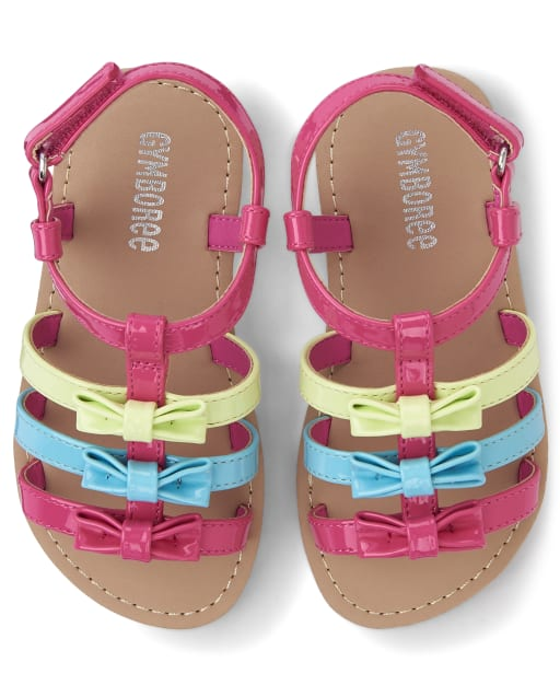 Girls Rainbow Faux Leather Sandals - Hello Cupcake