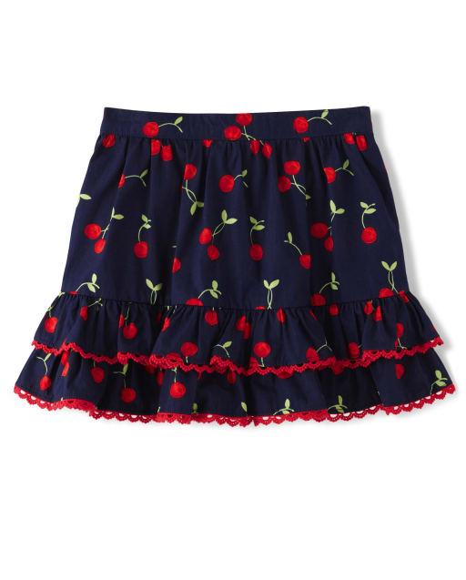 Girls Cherry Print Woven Tiered Skort - Very Cherry