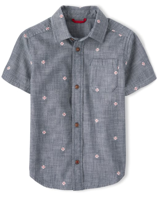 Boys Short Sleeve Embroidered Baseball Print Chambray Button Up Shirt - Opening Day