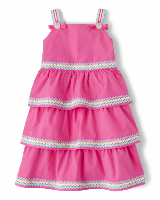 Girls Sleeveless Poplin Tiered Dress - Hello Cupcake