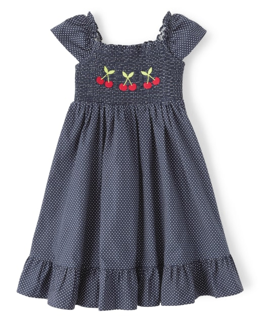 Girls Short Sleeve Cherry Dot Print Poplin Smocked Dress - Very Chery