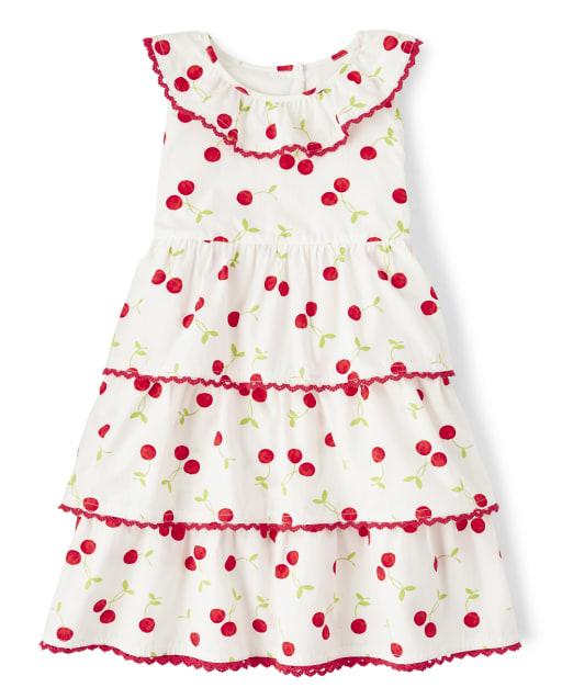 Girls Sleeveless Cherry Print Poplin Tiered Dress - Very Cherry