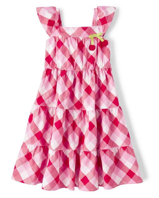 Girls Short Flutter Sleeve Gingham Poplin Tiered Dress - Very Cherry