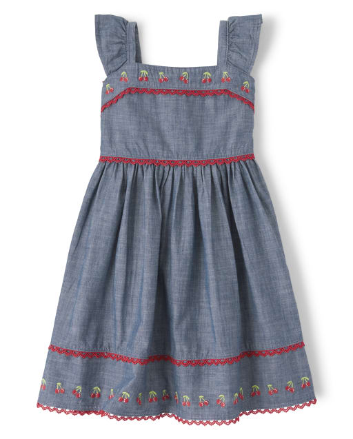 Girls Short Flutter Sleeve Embroidered Cherry Chambray Tiered Dress - Very Cherry