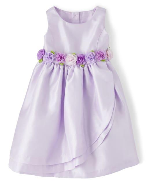 Girls Sleeveless Flower Applique Woven Dress - Spring Jubilee