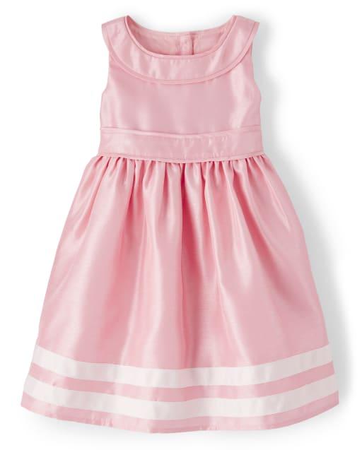 Girls Sleeveless Border Striped Woven Dress - Spring Jubilee