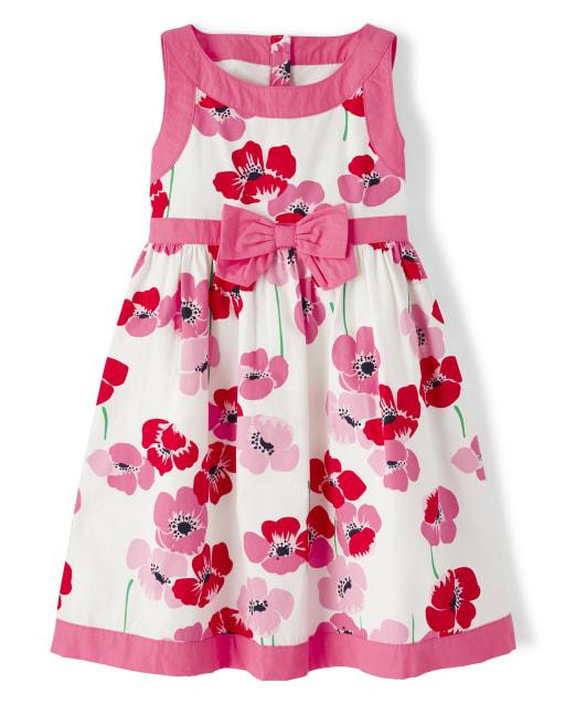 Girls Sleeveless Floral Print Poplin Dress - Playful Poppies