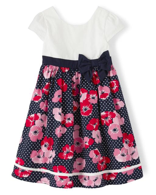 Girls Short Sleeve Floral And Dot Print Poplin Dress - Playful Poppies
