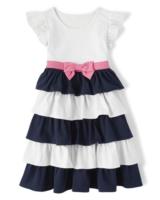 Girls Short Sleeve Knit Ruffle Tiered Dress - Playful Poppies