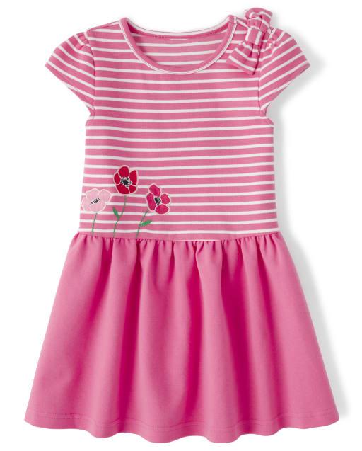 Girls Short Sleeve Poppy Embroidered Striped Ponte Knit Drop Waist Dress - Playful Poppies