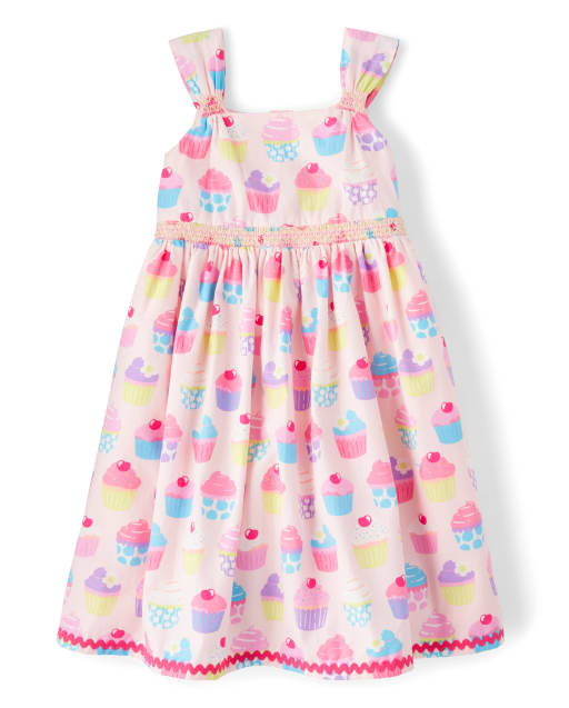Girls Sleeveless Cupcake Print Poplin Smocked Dress - Hello Cupcake