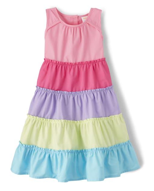 Girls Sleeveless Rainbow Colorblock Poplin Tiered Dress - Hello Cupcake