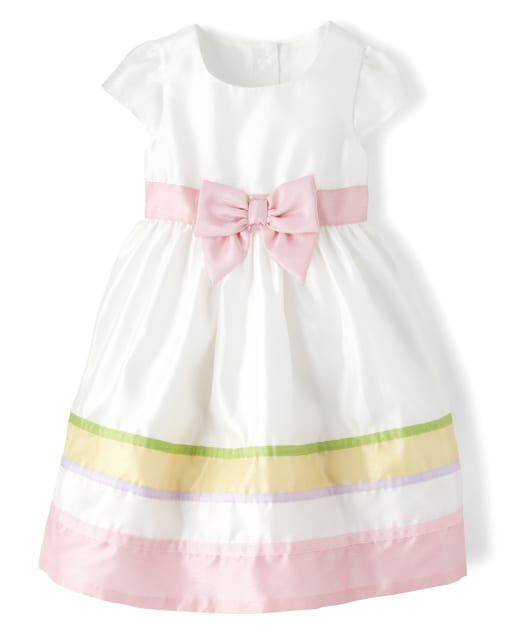 Girls Short Sleeve Ribbon Striped Woven Dress - Spring Jubilee