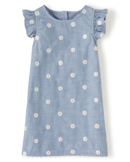 Girls Short Flutter Sleeve Embroidered Daisy Chambray Shift Dress - Pocketful Of Posies