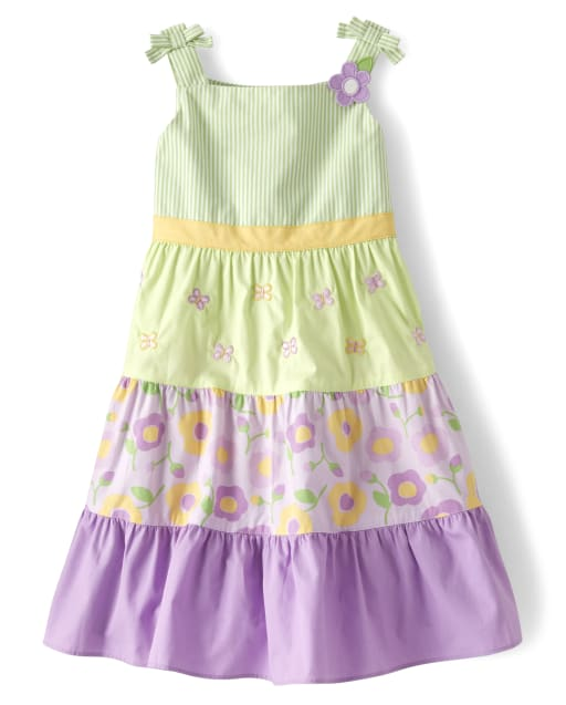 Girls Sleeveless Floral Poplin Tiered Dress - Pocketful Of Posies