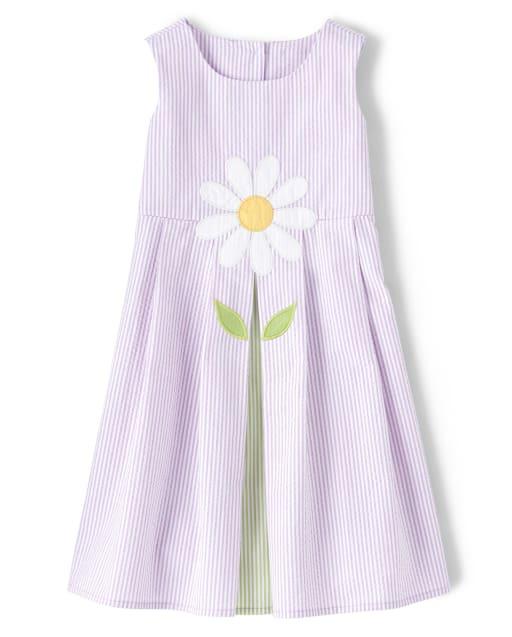 Girls Sleeveless Daisy Seersucker Shift Dress - Pocketful Of Posies