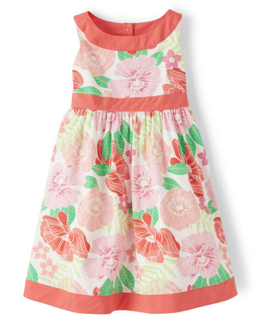 Girls Sleeveless Floral Print Poplin Dress - Fairy Blossom