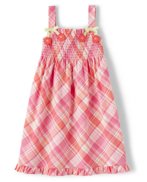 Girls Sleeveless Plaid Poplin Smocked Dress - Fairy Blossom