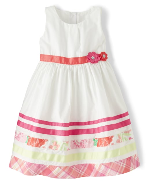 Girls Sleeveless Border Striped Poplin Dress - Fairy Blossom