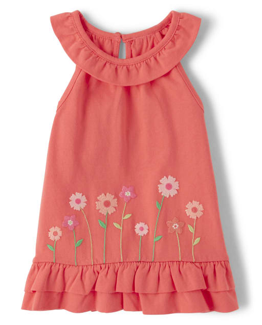 Girls Sleeveless Embroidered Flowers Peplum Top - Fairy Blossom