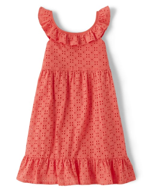 Girls Sleeveless Eyelet Woven Ruffle Dress - Fairy Blossom