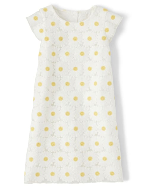 Girls Short Flutter Sleeve Embroidered Daisy Lace Shift Dress - Pocketful Of Posies