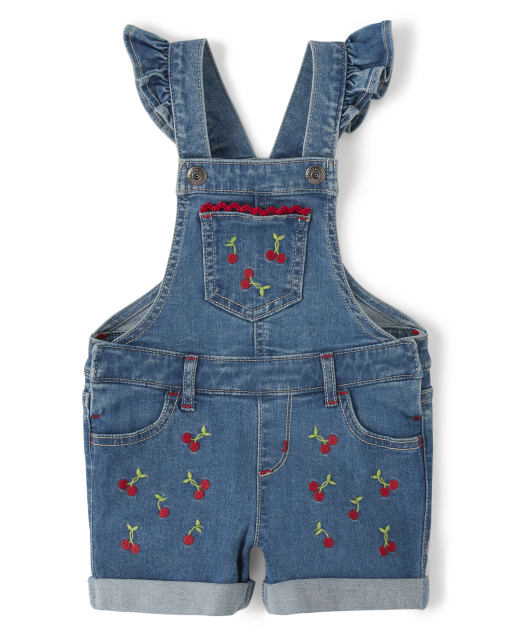 Girls Embroidered Cherry Shortalls - Very Cherry