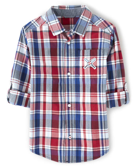 Boys Long Sleeve Plaid Poplin Button Up Shirt - Opening Day