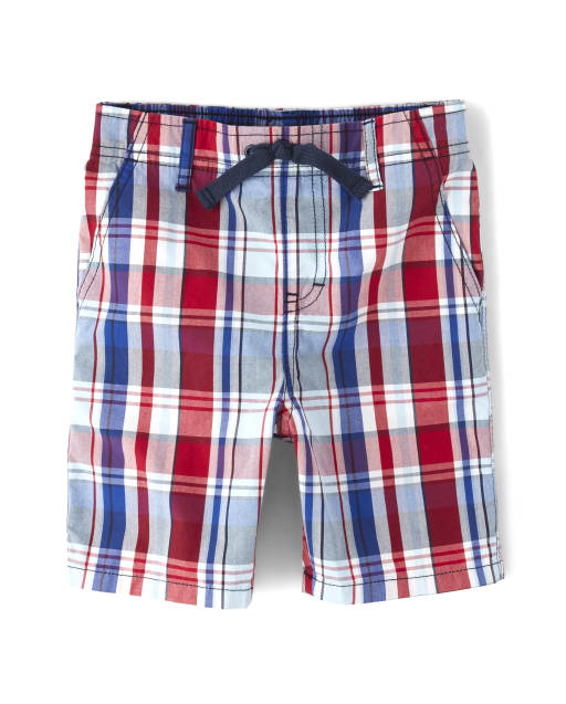 Boys Plaid Poplin Pull On Shorts - Opening Day