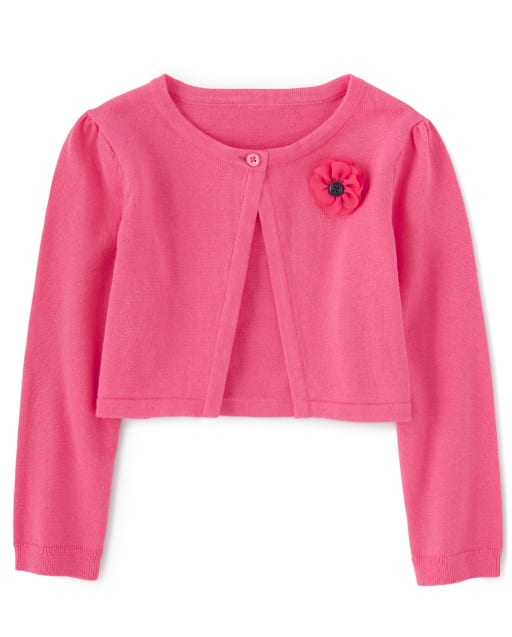 Girls Long Sleeve Flower Applique Cardigan - Playful Poppies