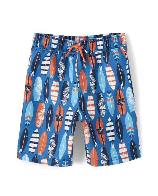 Boys Surf Print Swim Shorts - Whale Hello There