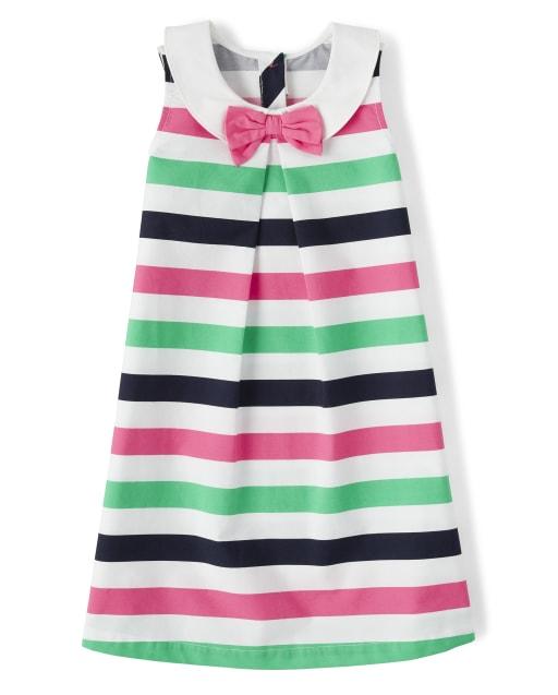 Girls Sleeveless Striped Poplin Shift Dress - Playful Poppies