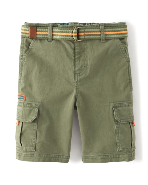 Boys Belted Woven Cargo Shorts - Summer Safari