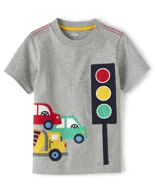 Boys Short Sleeve Peek-A-Boo Traffic Light Top - Travel Adventure