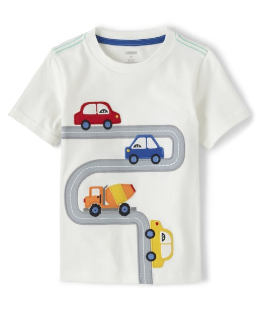 Boys Short Sleeve Embroidered Applique Road Top - Travel Adventure