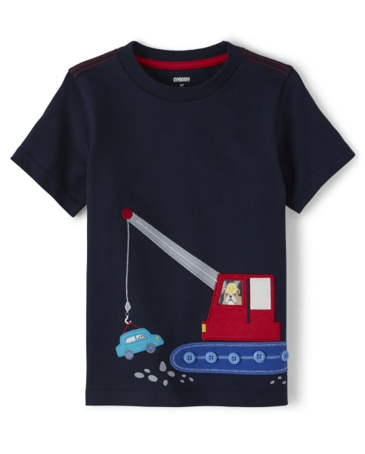 Boys Short Sleeve Embroidered Applique Construction Top - Travel Adventure