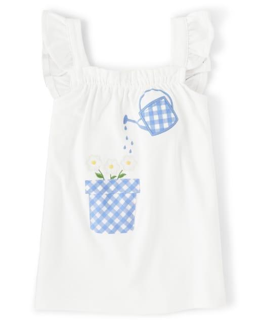 Girls Short Flutter Sleeve Embroidered Applique Garden Top - Sunny Daisies