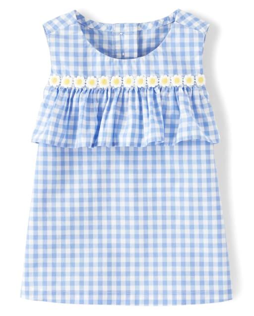 Girls Sleeveless Gingham Poplin Ruffle Top - Sunny Daisies