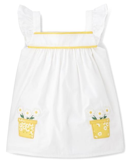 Girls Short Flutter Sleeve Embroidered Applique Flower Pot Poplin Swing Top - Sunny Daisies