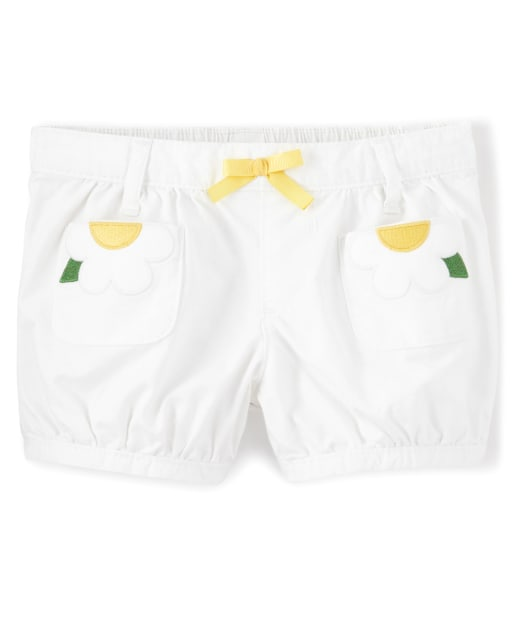 Girls Embroidered Applique Flower Woven Pull On Bubble Shorts - Sunny Daisies