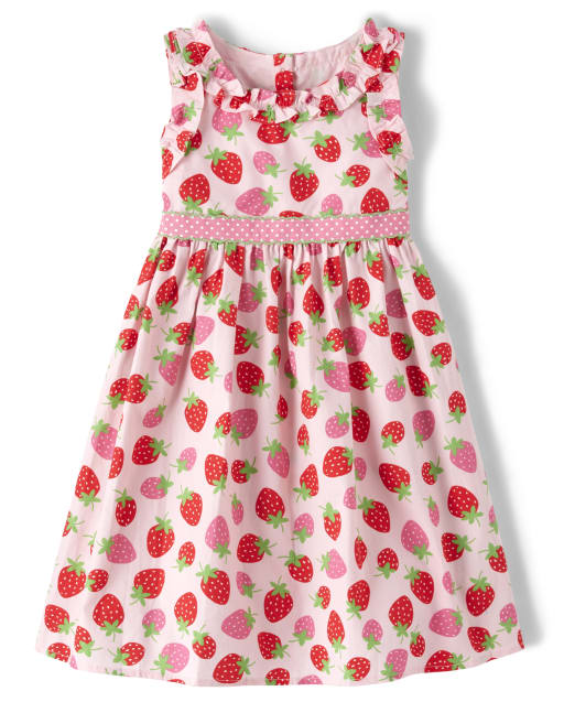 Girls Sleeveless Strawberry Print Ruffle Poplin Dress - Strawberry Patch